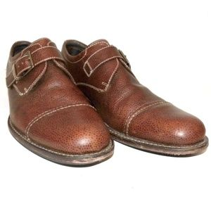 Cole Haan Brown Pebbled Cap Toe Monk Strap Oxfords